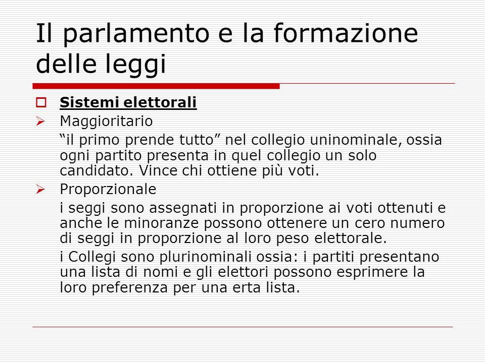 Sistemi elettorali Maggioritario il primo prende tutto nel collegio uninominale, ossia ogni partito presenta in quel collegio un solo candidato. Vince