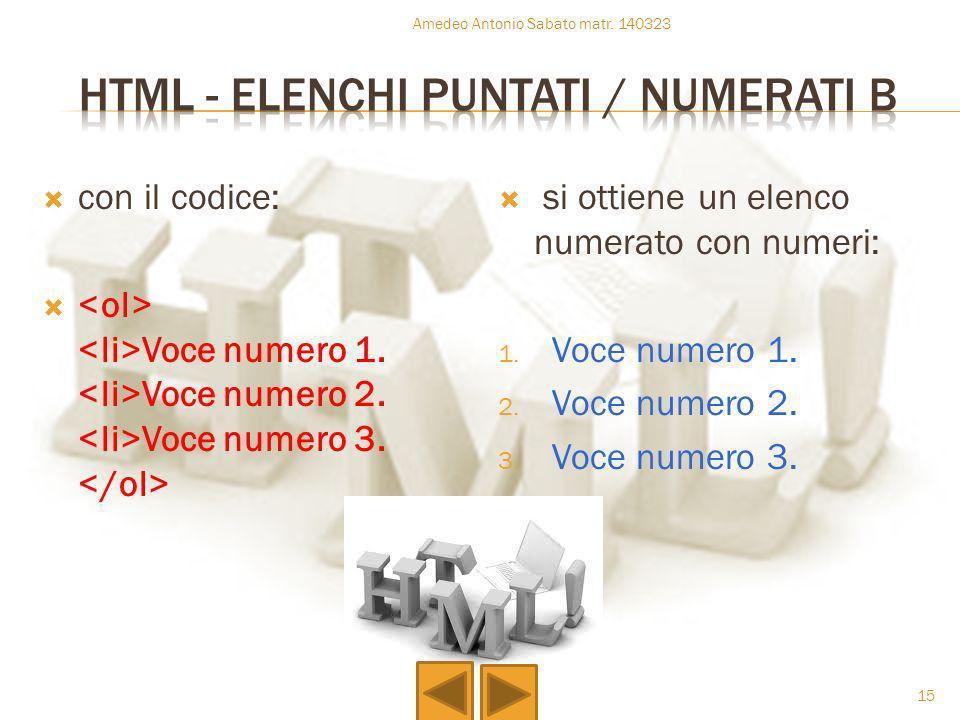 con il codice: Voce numero 1. Voce numero 2. Voce numero 3. si ottiene un elenco numerato con numeri: 1. Voce numero 1. 2. Voce numero 2. 3. Voce nume