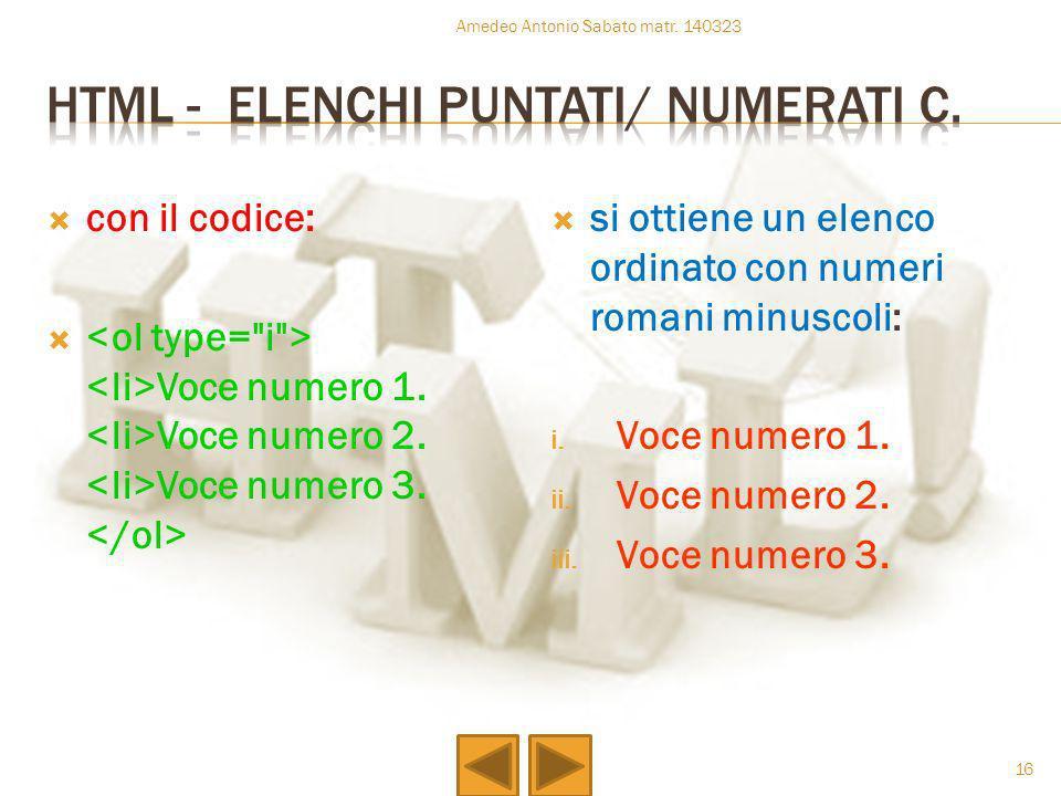 con il codice: Voce numero 1. Voce numero 2. Voce numero 3. si ottiene un elenco ordinato con numeri romani minuscoli: i. Voce numero 1. ii. Voce nume
