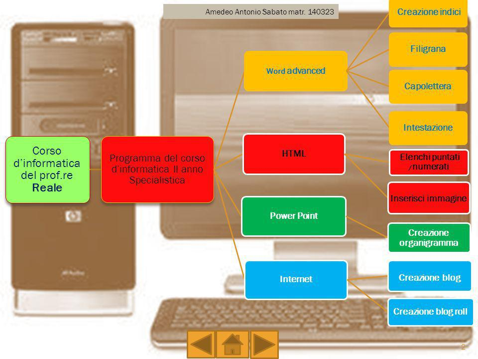 E un programma teso a dare strumenti utili per approfondire le capacità tecniche in Informatica, il prof.re del corso è Nicola Reale.