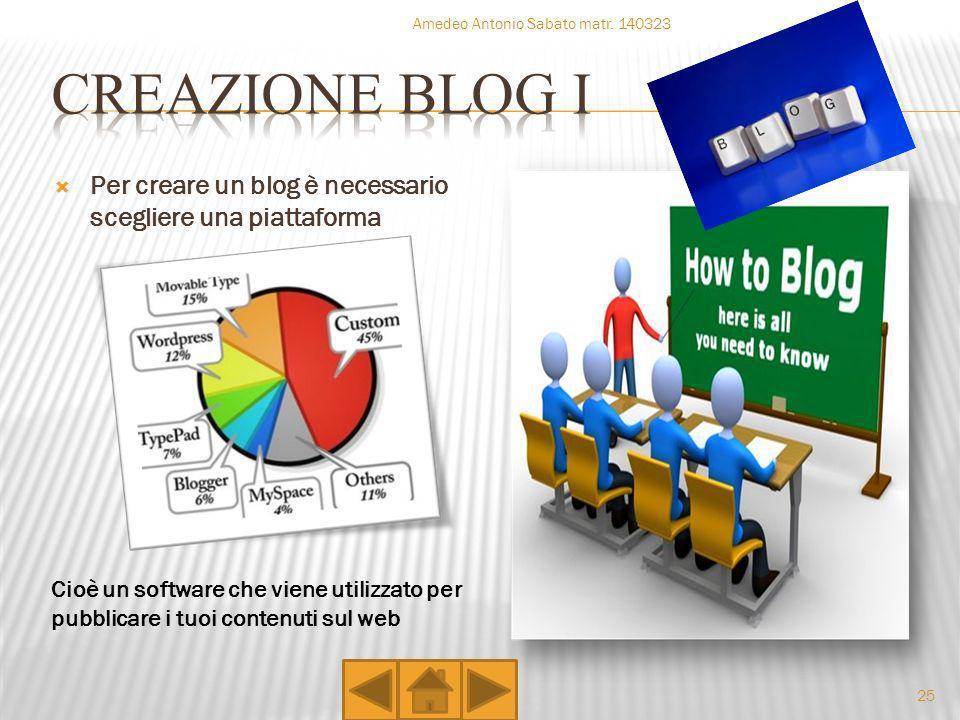 Per creare un blog è necessario scegliere una piattaforma Cioè un software che viene utilizzato per pubblicare i tuoi contenuti sul web Amedeo Antonio