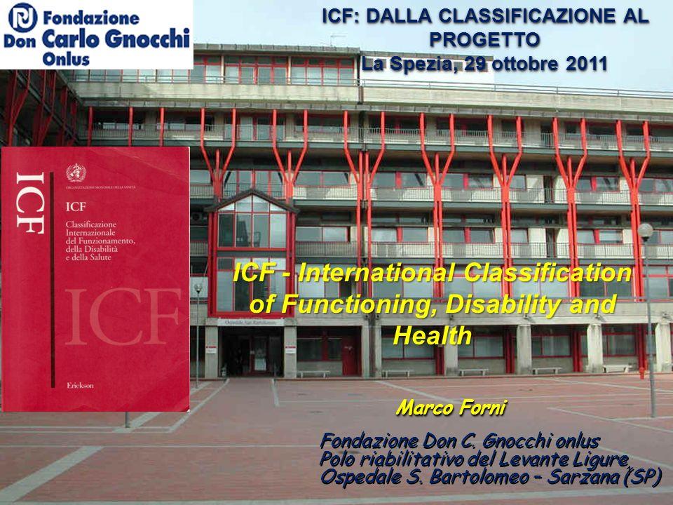 Marco Forni ICF: DALLA CLASSIFICAZIONE AL PROGETTO La Spezia, 29 ottobre 2011 ICF: DALLA CLASSIFICAZIONE AL PROGETTO La Spezia, 29 ottobre 2011 Fondazione Don C.