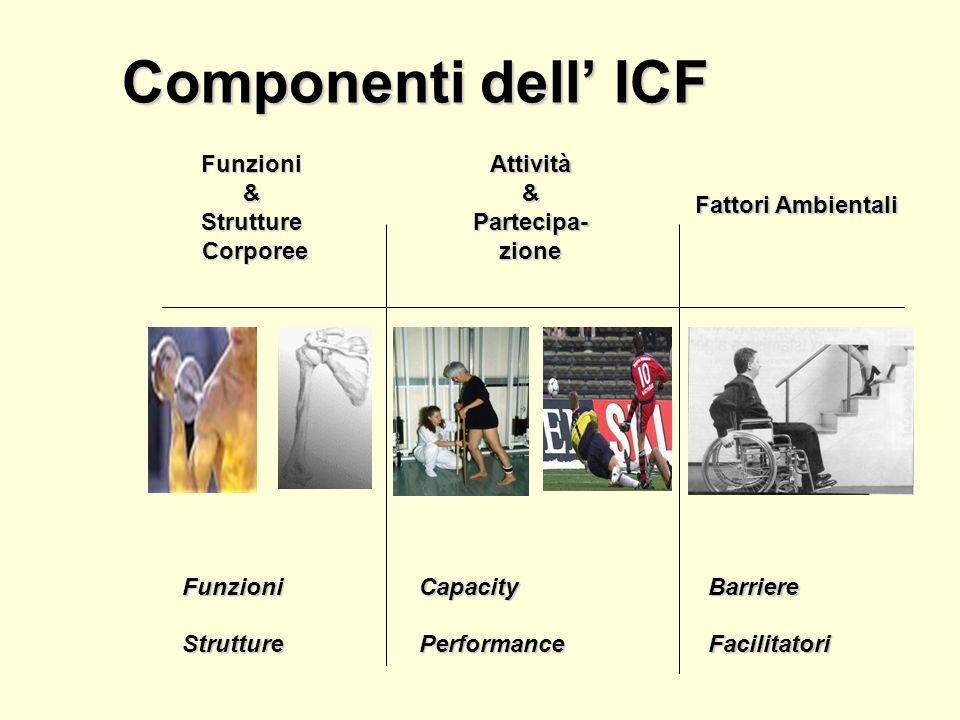 Struttura Classificazione Parti Componenti Costrutti/qualificatori Domini e categorie ai diversi livelli ai diversi livelli ICF Parte 1: Funzionamento