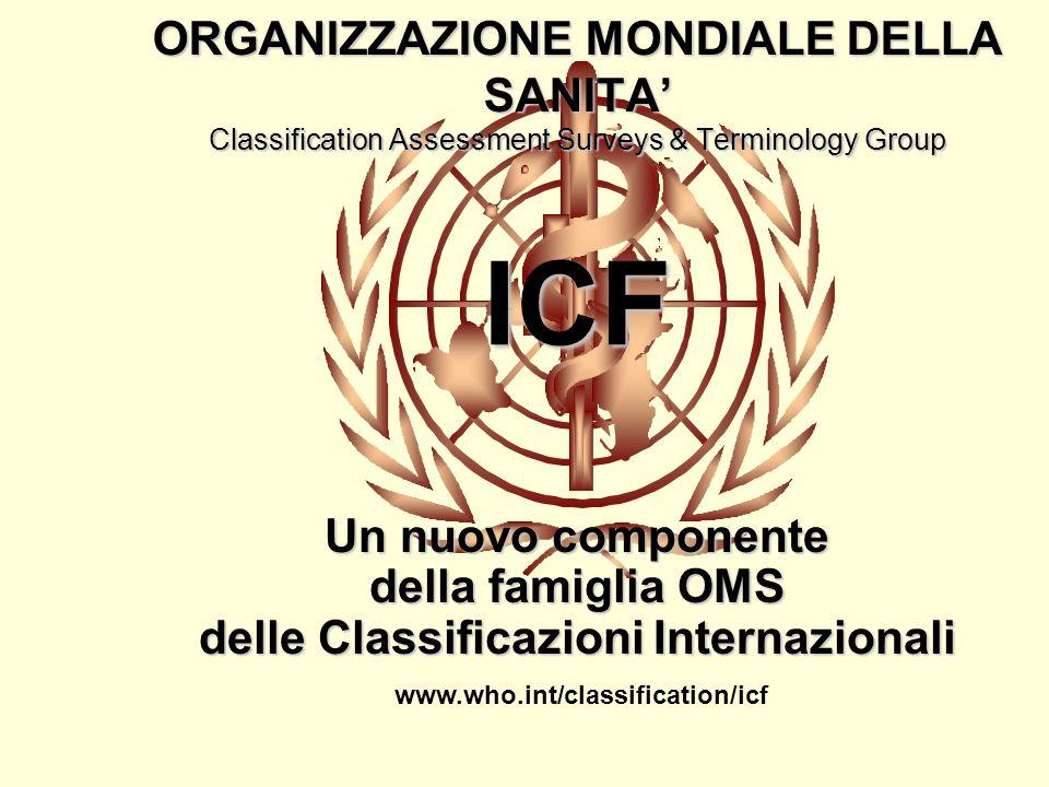 ICF ORGANIZZAZIONE MONDIALE DELLA SANITA Classification Assessment Surveys & Terminology Group Un nuovo componente della famiglia OMS delle Classificazioni Internazionali www.who.int/classification/icf