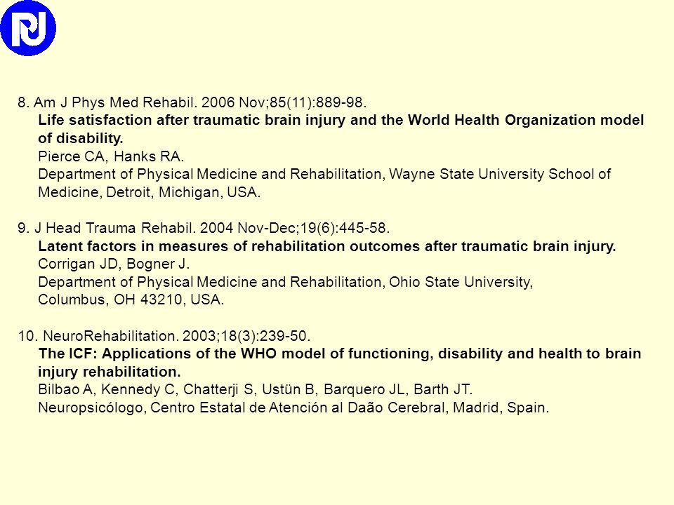 5. Neurorehabil Neural Repair. 2009 Jun;23(5):464-7. Developing core sets for persons with traumatic brain injury based on the international classific