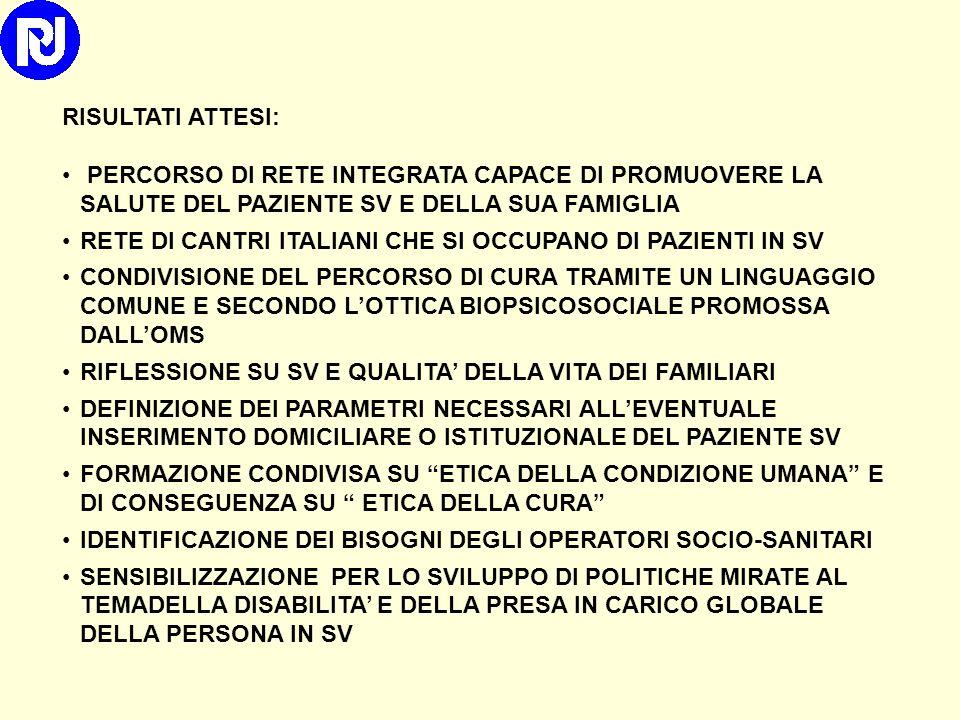 MULTICENTRICA ITALIANA, ESAURITA LA FASE PILOTA E IN CORSO LA FASE 2 PROGETTO OSSERVAZIONALE LONGITUDINALE PROSPETTICO SU SOGGETTI IN STATO VEGETATIVO