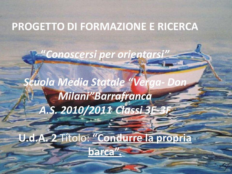 PROGETTO DI FORMAZIONE E RICERCAConoscersi per orientarsi Scuola Media Statale Verga- Don MilaniBarrafranca A.S. 2010/2011 Classi 3E-3F U.d.A. 2 Titol