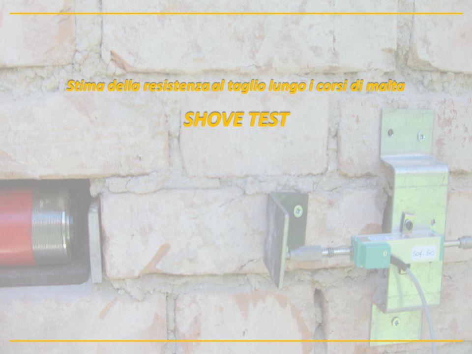 Stima della resistenza al taglio lungo i corsi di malta SHOVE TEST Descrizione della metodologia: La prova di taglio diretto lungo i corsi di malta è finalizzata alla determinazione del valore medio di resistenza a taglio in situ.