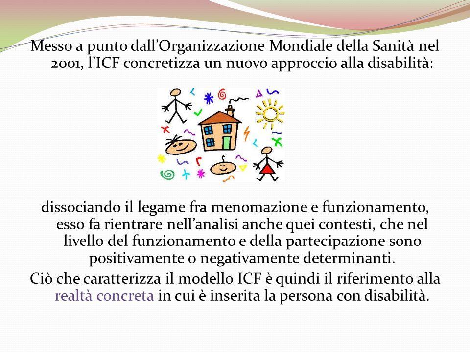 Messo a punto dallOrganizzazione Mondiale della Sanità nel 2001, lICF concretizza un nuovo approccio alla disabilità: dissociando il legame fra menoma