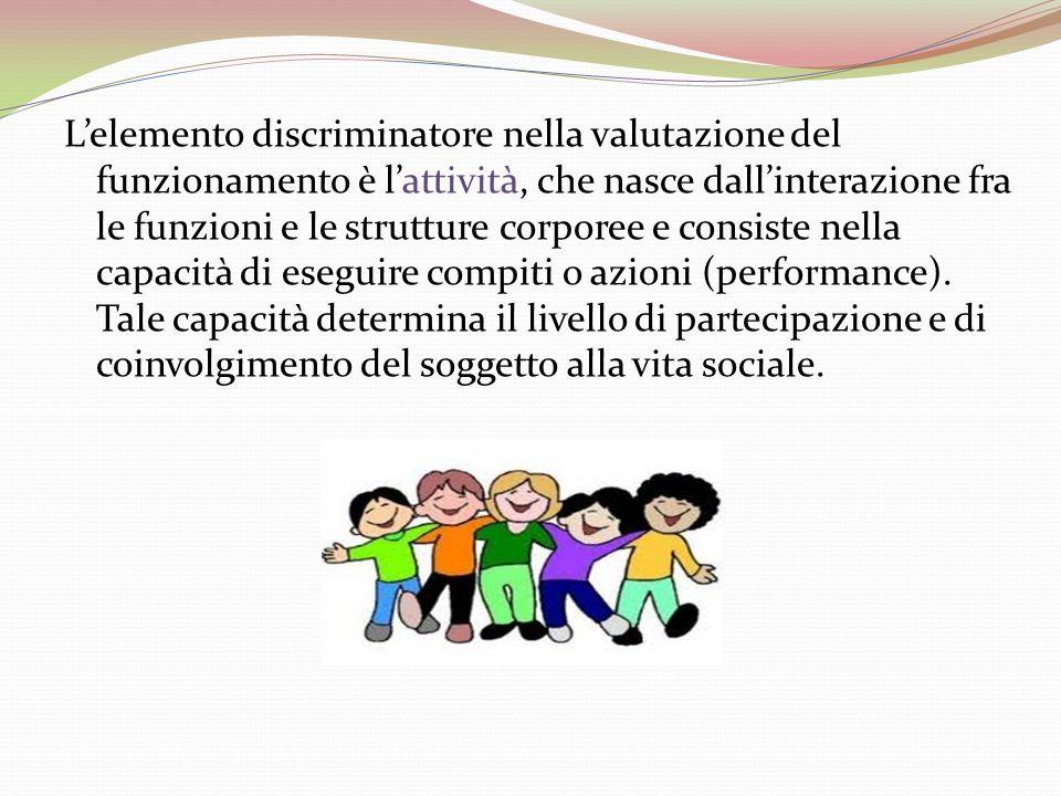 Lelemento discriminatore nella valutazione del funzionamento è lattività, che nasce dallinterazione fra le funzioni e le strutture corporee e consiste