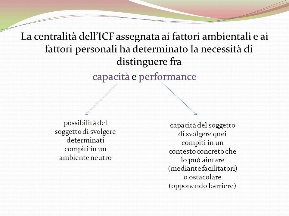 La centralità dellICF assegnata ai fattori ambientali e ai fattori personali ha determinato la necessità di distinguere fra capacità e performance pos