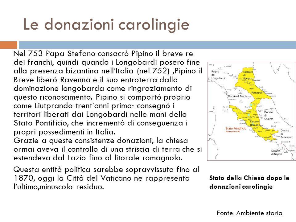 Le donazioni carolingie Nel 753 Papa Stefano consacrò Pipino il breve re dei franchi, quindi quando i Longobardi posero fine alla presenza bizantina n