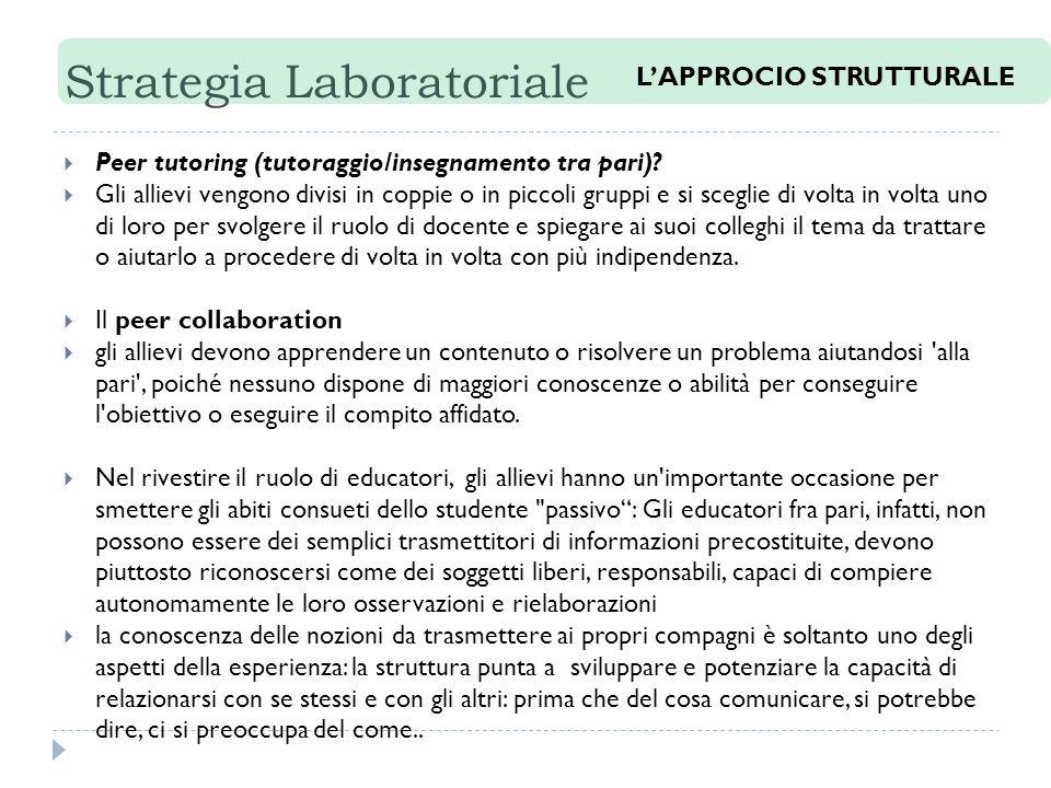 Strategia Laboratoriale Peer tutoring (tutoraggio/insegnamento tra pari).