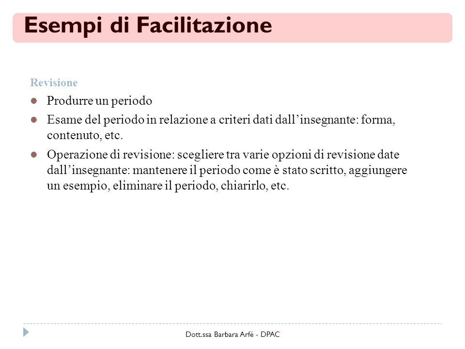 Esempi di Facilitazione Revisione Produrre un periodo Esame del periodo in relazione a criteri dati dallinsegnante: forma, contenuto, etc.