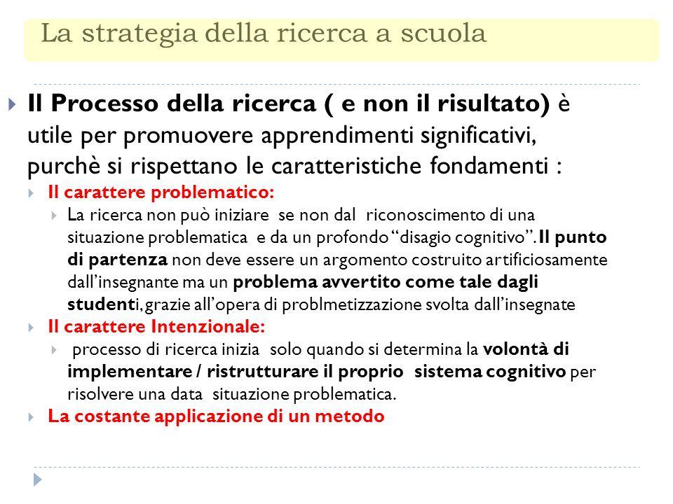 La strategia della ricerca a scuola Il Processo della ricerca ( e non il risultato) è utile per promuovere apprendimenti significativi, purchè si rispettano le caratteristiche fondamenti : Il carattere problematico: La ricerca non può iniziare se non dal riconoscimento di una situazione problematica e da un profondo disagio cognitivo.