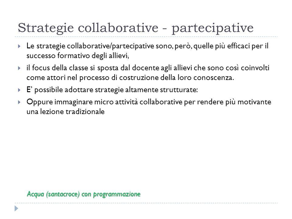 Strategie collaborative - partecipative Le strategie collaborative/partecipative sono, però, quelle più efficaci per il successo formativo degli allievi, il focus della classe si sposta dal docente agli allievi che sono così coinvolti come attori nel processo di costruzione della loro conoscenza.