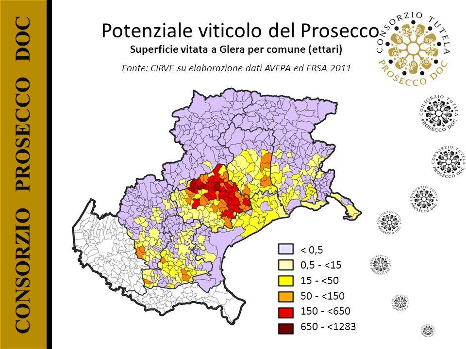 CONSORZIO PROSECCO DOC < 0,5 0,5 - <15 15 - <50 50 - <150 150 - <650 650 - <1283 Superficie vitata a Glera per comune (ettari) Fonte: CIRVE su elabora