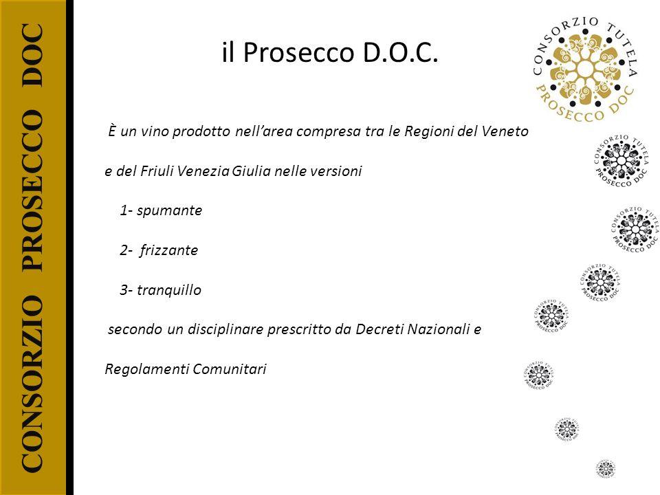 CONSORZIO PROSECCO DOC il Prosecco D.O.C. È un vino prodotto nellarea compresa tra le Regioni del Veneto e del Friuli Venezia Giulia nelle versioni 1-