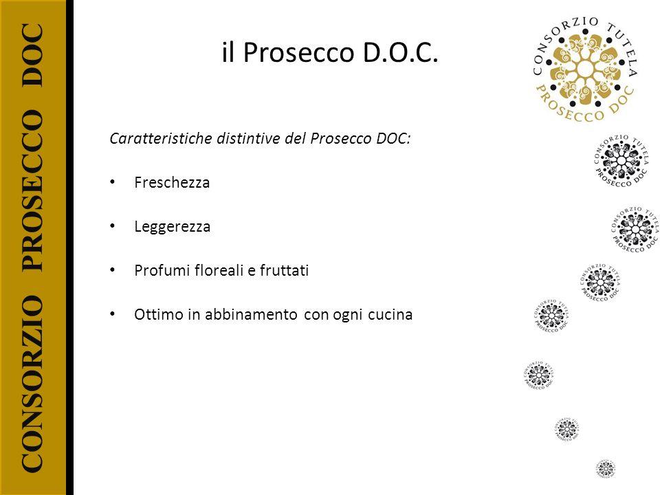 CONSORZIO PROSECCO DOC il Prosecco D.O.C. Caratteristiche distintive del Prosecco DOC: Freschezza Leggerezza Profumi floreali e fruttati Ottimo in abb