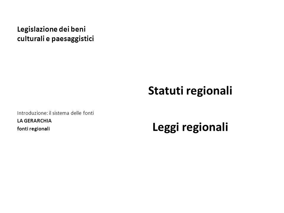Legislazione dei beni culturali e paesaggistici Statuti regionali Leggi regionali Introduzione: il sistema delle fonti LA GERARCHIA fonti regionali