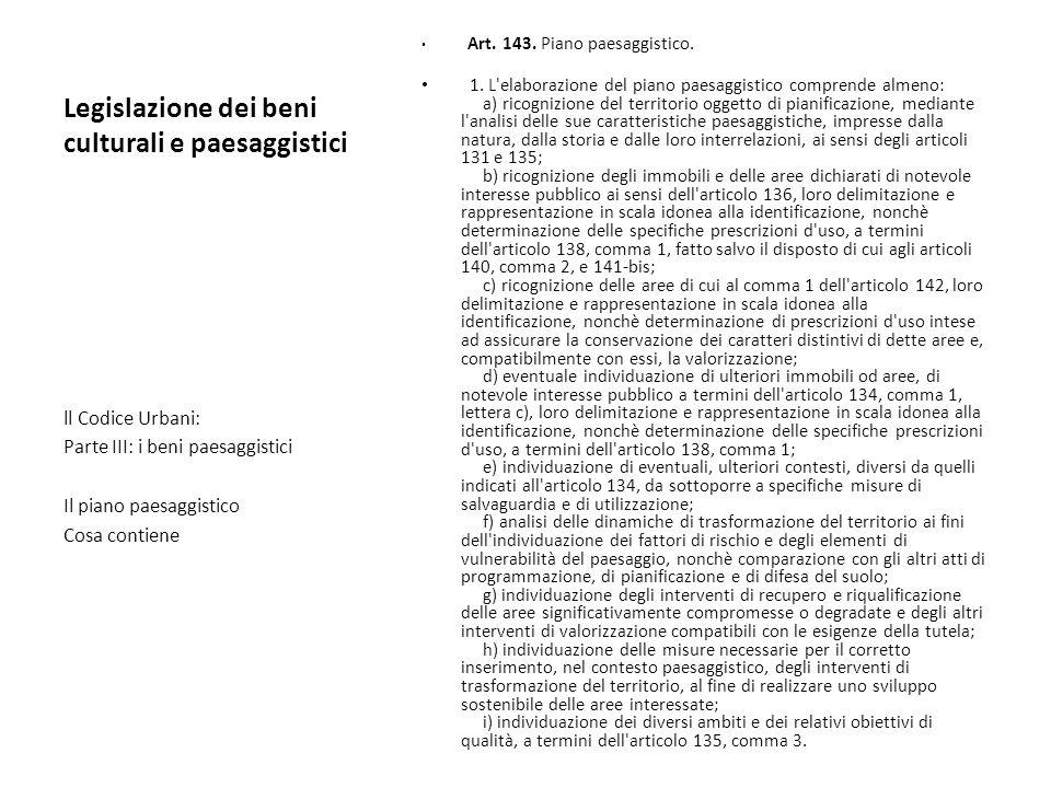 Legislazione dei beni culturali e paesaggistici Art. 143. Piano paesaggistico. 1. L'elaborazione del piano paesaggistico comprende almeno: a) ricogniz