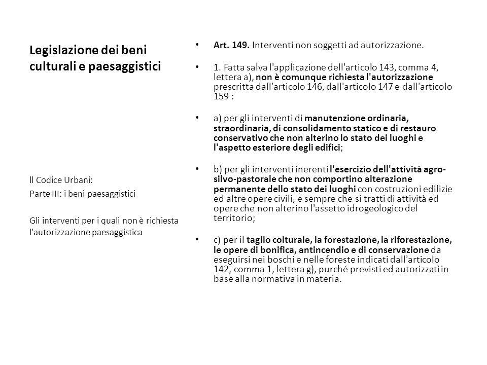 Legislazione dei beni culturali e paesaggistici Art. 149. Interventi non soggetti ad autorizzazione. 1. Fatta salva l'applicazione dell'articolo 143,