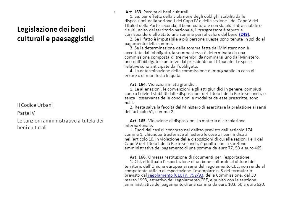 Legislazione dei beni culturali e paesaggistici Art. 163. Perdita di beni culturali. 1. Se, per effetto della violazione degli obblighi stabiliti dall