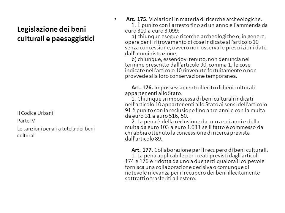 Legislazione dei beni culturali e paesaggistici Art. 175. Violazioni in materia di ricerche archeologiche. 1. È punito con l'arresto fino ad un anno e