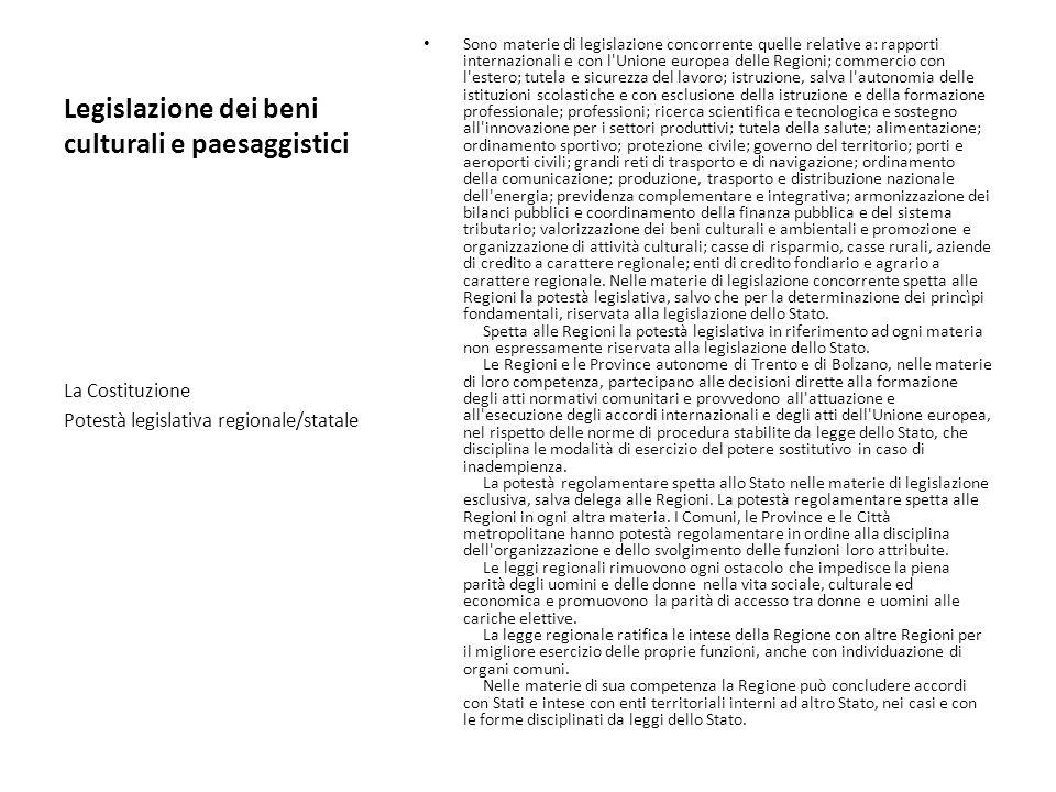 Legislazione dei beni culturali e paesaggistici Sono materie di legislazione concorrente quelle relative a: rapporti internazionali e con l'Unione eur