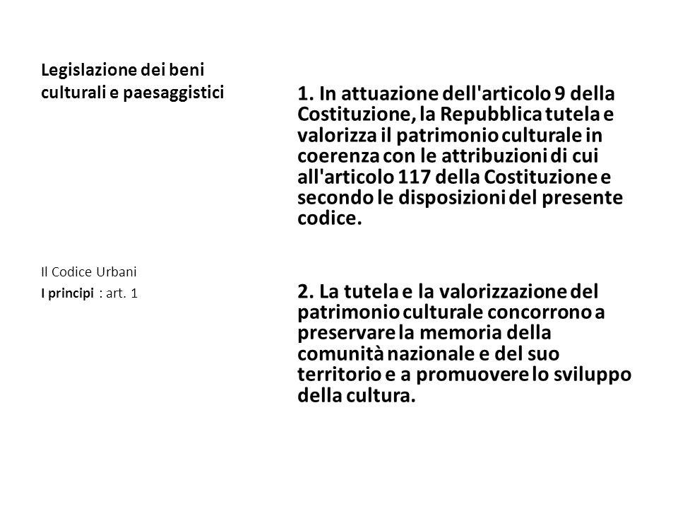Legislazione dei beni culturali e paesaggistici Art. 1. Princìpi. 1. In attuazione dell'articolo 9 della Costituzione, la Repubblica tutela e valorizz