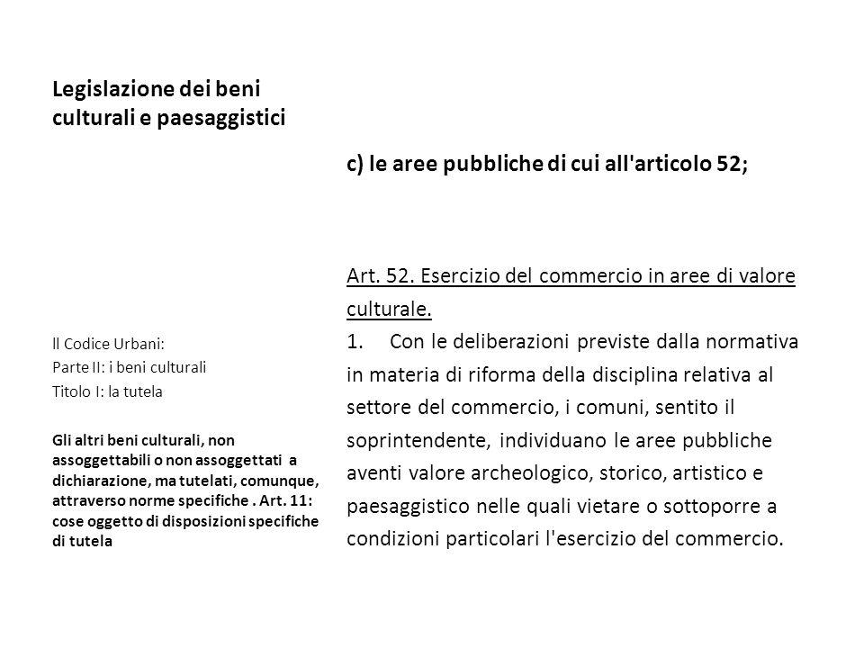 Legislazione dei beni culturali e paesaggistici c) le aree pubbliche di cui all'articolo 52; Art. 52. Esercizio del commercio in aree di valore cultur