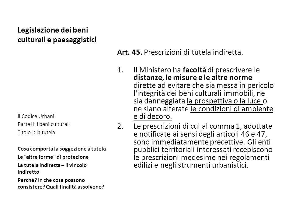 Legislazione dei beni culturali e paesaggistici Art. 45. Prescrizioni di tutela indiretta. 1.Il Ministero ha facoltà di prescrivere le distanze, le mi