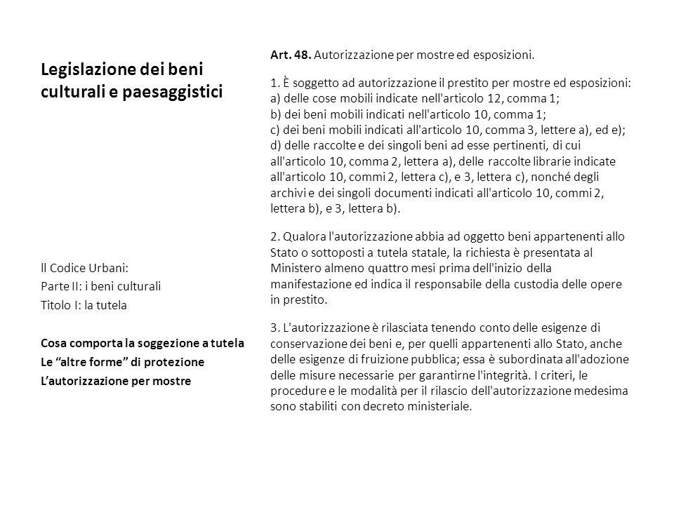 Legislazione dei beni culturali e paesaggistici Art. 48. Autorizzazione per mostre ed esposizioni. 1. È soggetto ad autorizzazione il prestito per mos