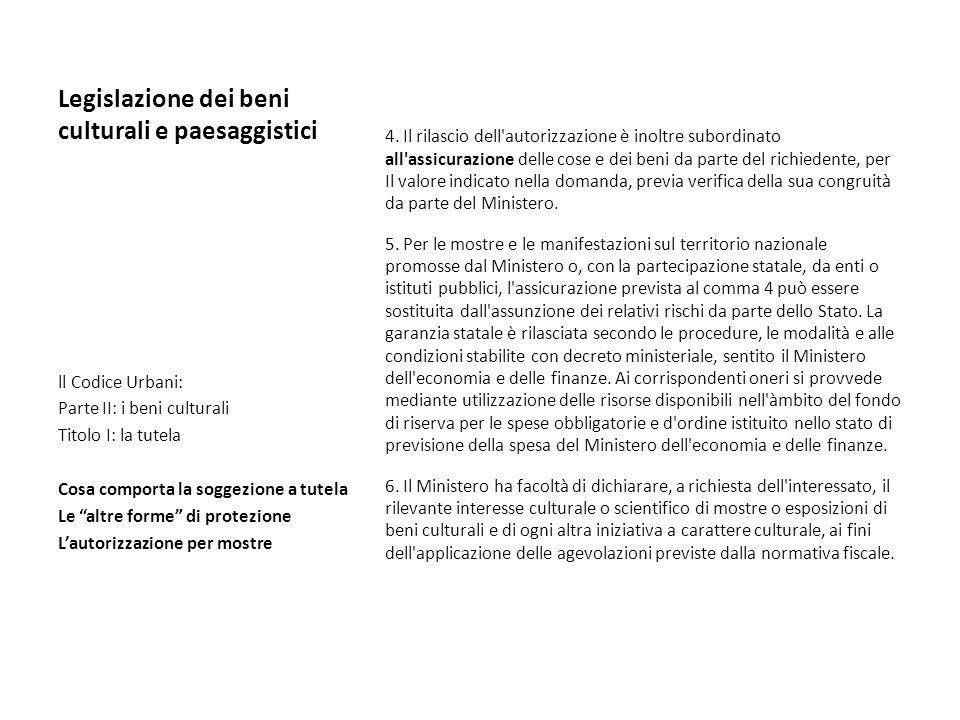 Legislazione dei beni culturali e paesaggistici 4. Il rilascio dell'autorizzazione è inoltre subordinato all'assicurazione delle cose e dei beni da pa