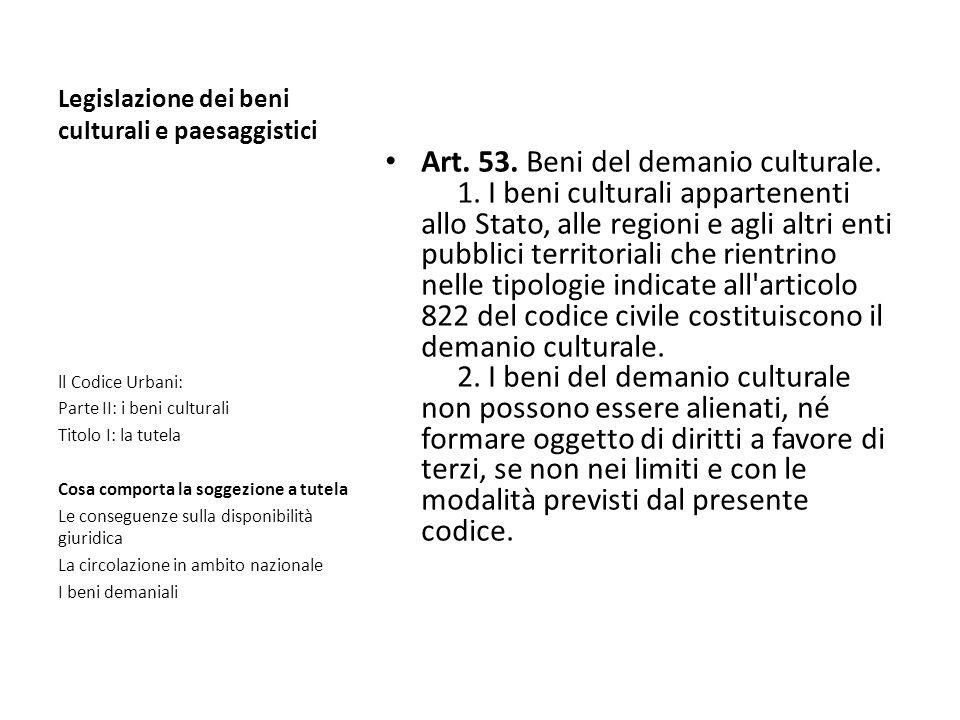 Legislazione dei beni culturali e paesaggistici Art. 53. Beni del demanio culturale. 1. I beni culturali appartenenti allo Stato, alle regioni e agli
