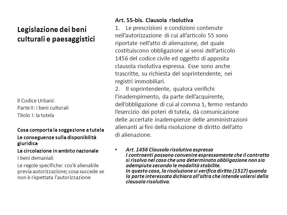 Legislazione dei beni culturali e paesaggistici Art. 55-bis. Clausola risolutiva 1.Le prescrizioni e condizioni contenute nellautorizzazione di cui al