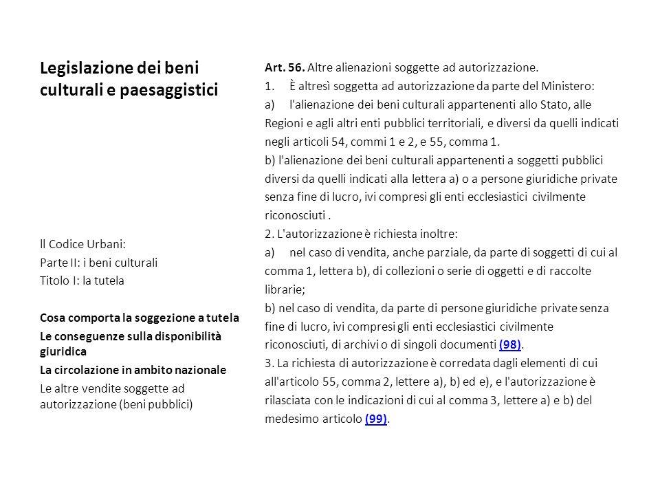 Legislazione dei beni culturali e paesaggistici Art. 56. Altre alienazioni soggette ad autorizzazione. 1.È altresì soggetta ad autorizzazione da parte