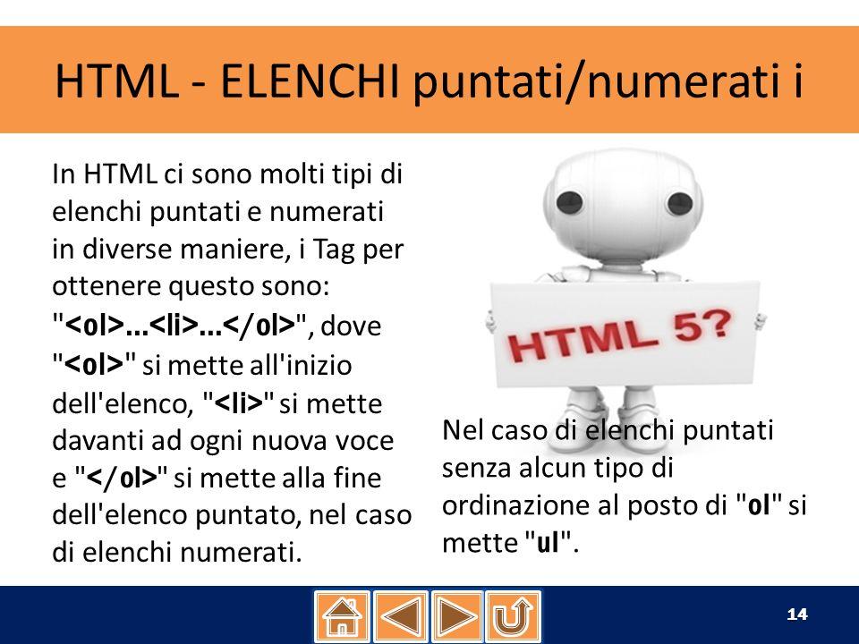 HTML - ELENCHI puntati/numerati ii con il codice: Voce numero 1.