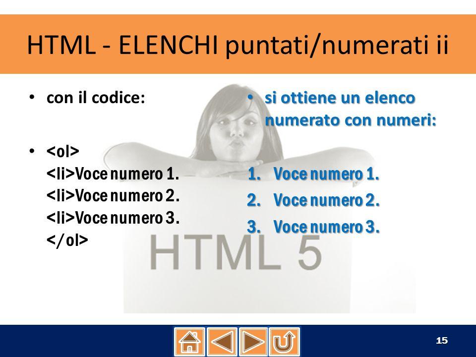 HTML - ELENCHI puntati/numerati iii con il codice: Voce numero 1.