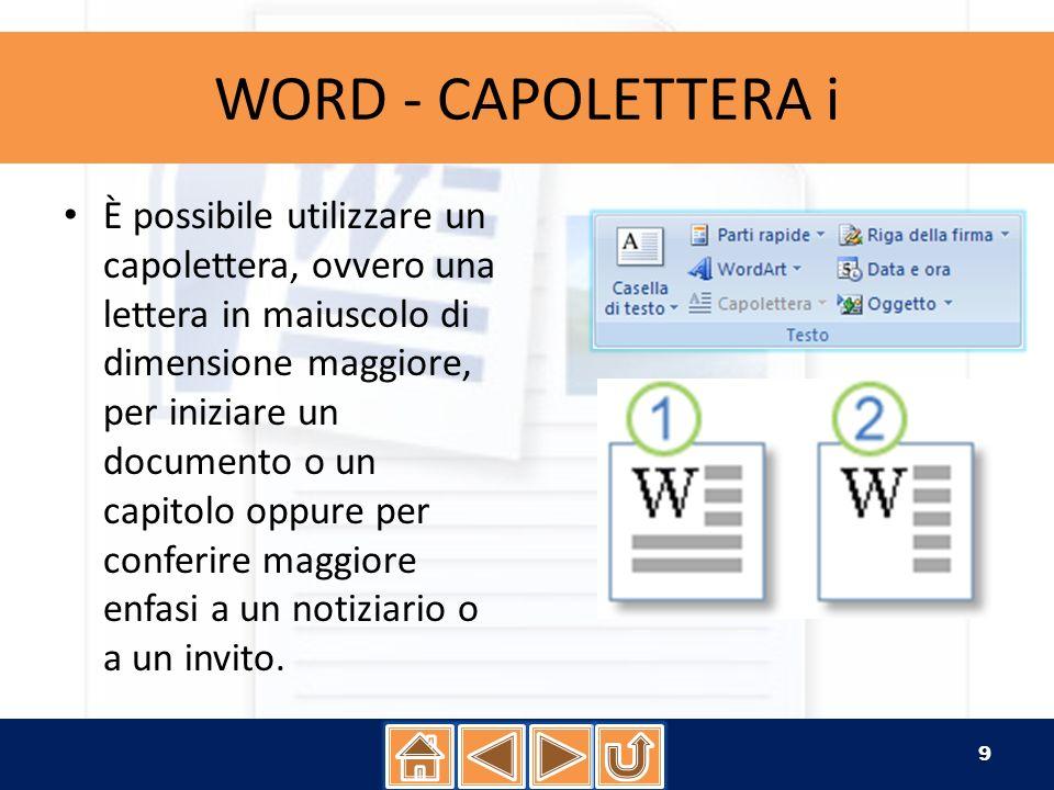 WORD - CAPOLETTERA ii 1.Fare clic nel paragrafo che si desidera inizi con un capolettera.