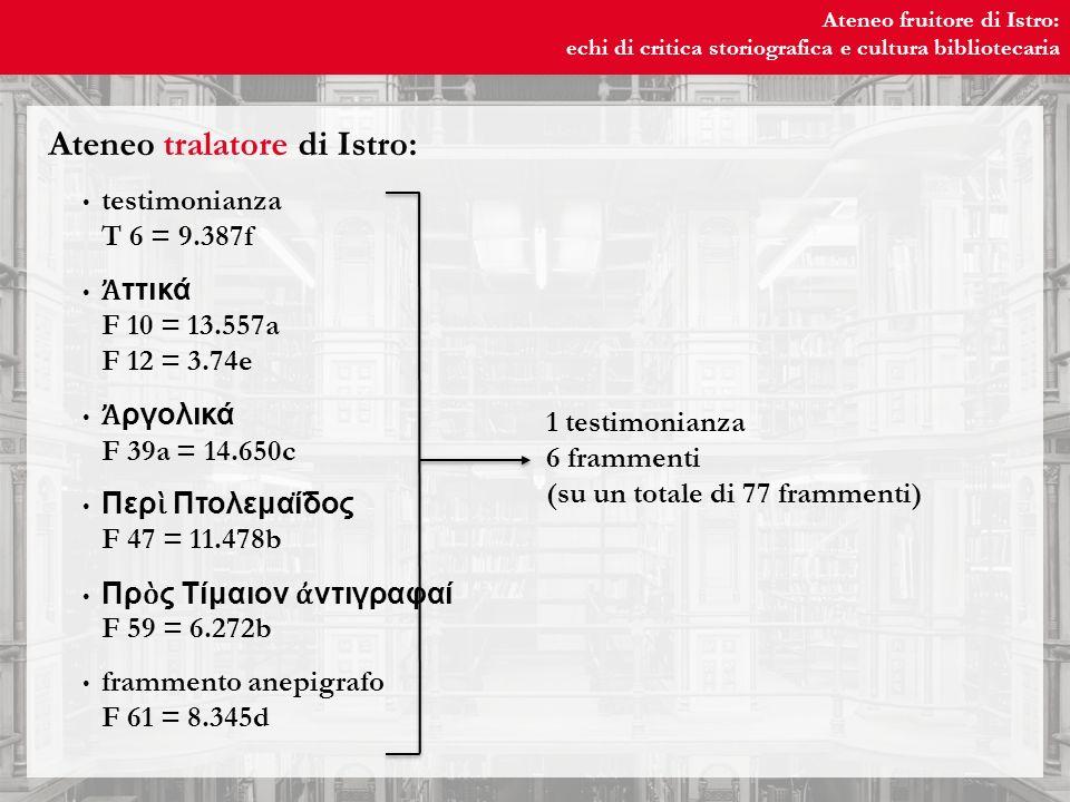 Ateneo fruitore di Istro: echi di critica storiografica e cultura bibliotecaria Ateneo fruitore di Istro: echi di critica storiografica e cultura bibliotecaria 9.387f (T 6) frammento e/o testimonianza.