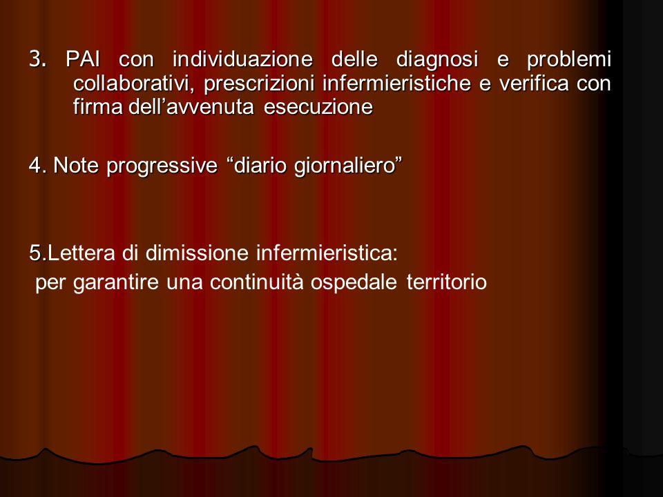 3. PAI con individuazione delle diagnosi e problemi collaborativi, prescrizioni infermieristiche e verifica con firma dellavvenuta esecuzione 4. Note