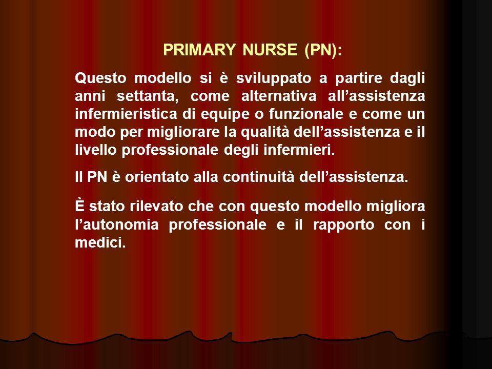 PRIMARY NURSE (PN): Questo modello si è sviluppato a partire dagli anni settanta, come alternativa allassistenza infermieristica di equipe o funzional