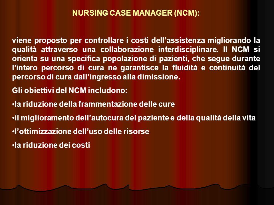 NURSING CASE MANAGER (NCM): viene proposto per controllare i costi dellassistenza migliorando la qualità attraverso una collaborazione interdisciplina