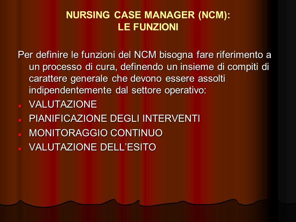 NURSING CASE MANAGER (NCM): LE FUNZIONI Per definire le funzioni del NCM bisogna fare riferimento a un processo di cura, definendo un insieme di compi