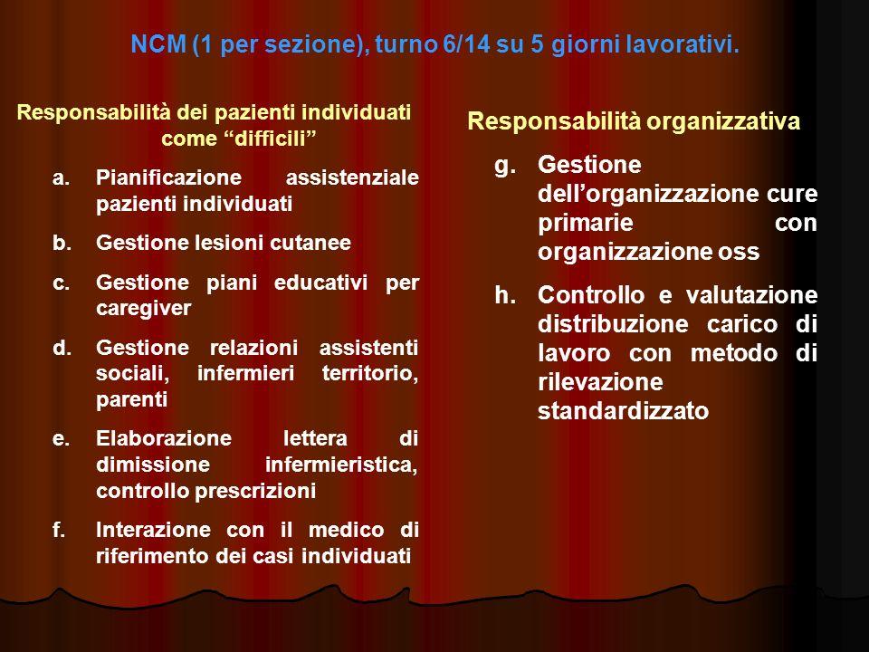 NCM (1 per sezione), turno 6/14 su 5 giorni lavorativi. Responsabilità dei pazienti individuati come difficili a. a.Pianificazione assistenziale pazie