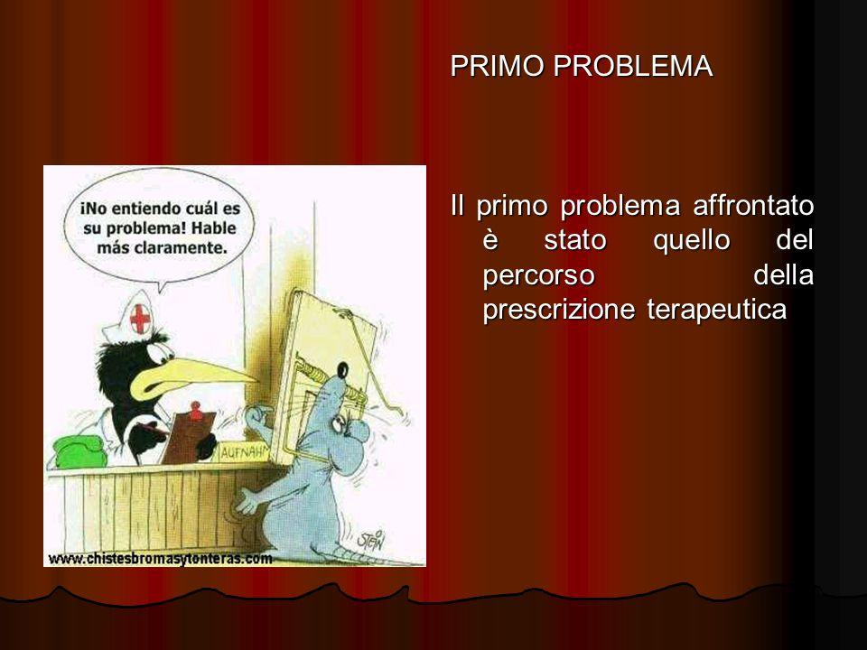 PRIMO PROBLEMA Il primo problema affrontato è stato quello del percorso della prescrizione terapeutica