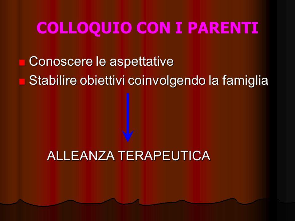 COLLOQUIO CON I PARENTI Conoscere le aspettative Stabilire obiettivi coinvolgendo la famiglia ALLEANZA TERAPEUTICA ALLEANZA TERAPEUTICA