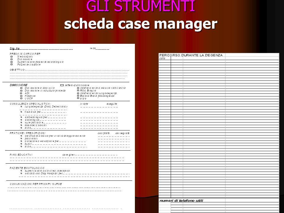 GLI STRUMENTI scheda case manager
