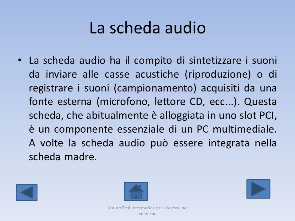 La scheda audio La scheda audio ha il compito di sintetizzare i suoni da inviare alle casse acustiche (riproduzione) o di registrare i suoni (campiona